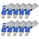Enfain® 10pcs Swivel Design Waterproof USB Flash Drive 2.0 Memory Stick Pen (256MB, Blue)