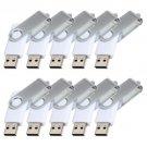 Enfain® 10pcs Swivel Design Waterproof USB 2.0 Flash Drive Memory Stick Fold Storage (512MB, White)