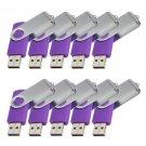 Enfain® 10pcs Swivel Design Waterproof USB 2.0 Flash Drive Memory Stick Fold Storage (512MB,Purple)