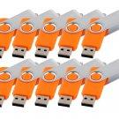 Enfain® 10pcs Swivel Design Waterproof USB 2.0 Flash Drive Memory Stick Fold Storage (512MB,Orange)