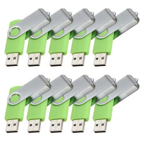 Enfain® 10Pcs Nice Swivel Design New Waterproof USB 2.0 Flash Drive Memory Stick(1GB,Green)