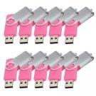 Enfain® 10Pcs Nice Swivel Design New Waterproof USB 2.0 Flash Drive Memory Stick(2GB,Pink)