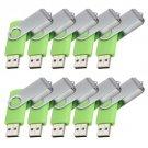 Enfain® 10Pcs Nice Swivel Design New Waterproof USB 2.0 Flash Drive Memory Stick(2GB,Green)