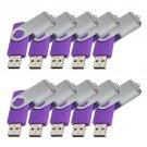 Enfain® 10Pcs Nice Swivel Design New Waterproof USB 2.0 Flash Drive Memory Stick(2GB,Purple)