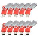 Enfain® 10Pcs Nice Swivel Design New Waterproof USB 2.0 Flash Drive Memory Stick(4GB,Red)