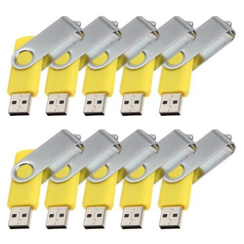 Enfain® 10Pcs Nice Swivel Design New Waterproof USB 2.0 Flash Drive Memory Stick(16GB,Yellow)