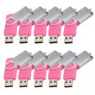 Enfain® 10Pcs Nice Swivel Design New Waterproof USB 2.0 Flash Drive Memory Stick(16GB,Pink)