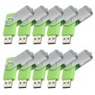 Enfain® 10Pcs Nice Swivel Design New Waterproof USB 2.0 Flash Drive Memory Stick(32GB,Green)