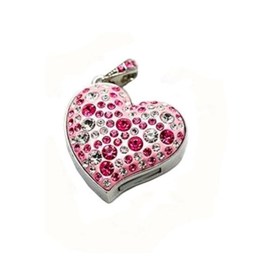 Enfain® Pink Crystal Heart Pendant Style USB 2.0 Flash Drive Memory Stick with Necklace (4GB)