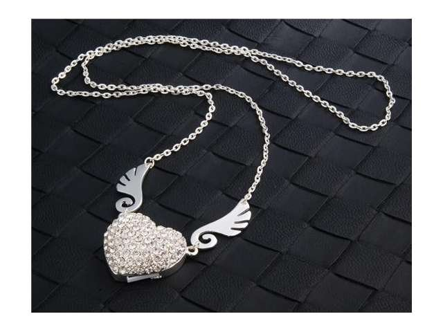 Enfain® Silver Crystal Pendant Angel Heart USB Flash Drive 2.0 8gb Memory Stick UDisk with Necklace