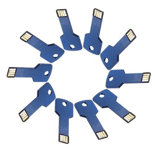 Enfain® 10Pcs Bulk Promotional 64MB Metal Key USB Flash Drive 2.0 Memory Stick Pen Drive(Dark Blue)