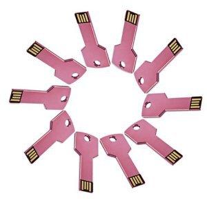 Enfain® 10Pcs Bulk Promotional 64MB Metal Key USB Flash Drive 2.0 Memory Stick Pen Drive(Pink)