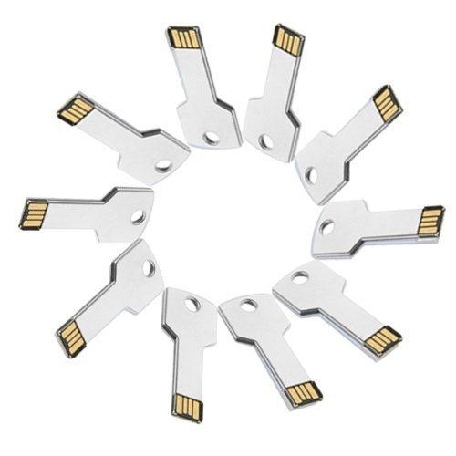Enfain® 10Pcs Cheap Bulk Metal Key Design 512MB USB 2.0 Flash Drive Memory Stick (Sliver)