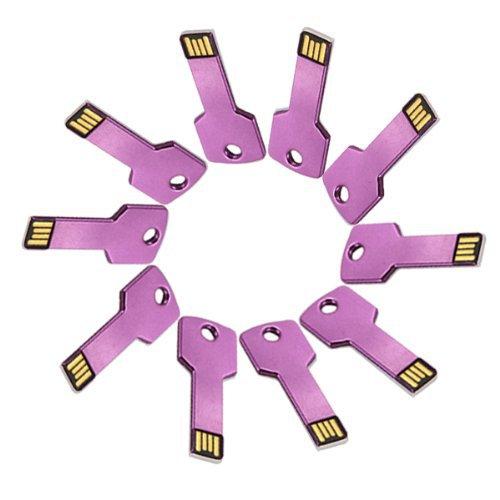 Enfain® 10Pcs 1GB Metal Key USB 2.0 Flash Drive Memory Stick Pen Drive Multi Color Choice (Purple)