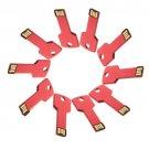 Enfain® 10Pcs Metal Key 4GB USB Flash Drive 2.0 Memory Stick Pen Drive Thumb Stick (Red)
