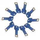 Enfain® 10Pcs Metal Key 8GB USB Flash Drive 2.0 Memory Stick Multi Color Choice (Dark Blue)