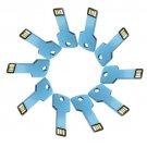 Enfain® 10Pcs Metal Key 8GB USB Flash Drive 2.0 Memory Stick Multi Color Choice (Blue)
