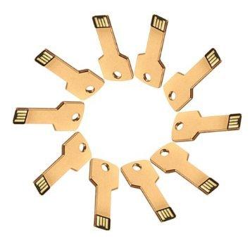 Enfain® 10Pcs Metal Key 8GB USB Flash Drive 2.0 Memory Stick Multi Color Choice (Golden)