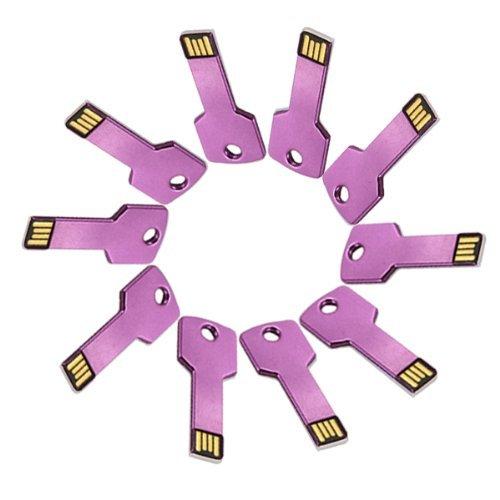 Enfain® 10Pcs Metal Key 8GB USB Flash Drive 2.0 Memory Stick Multi Color Choice (Purple)