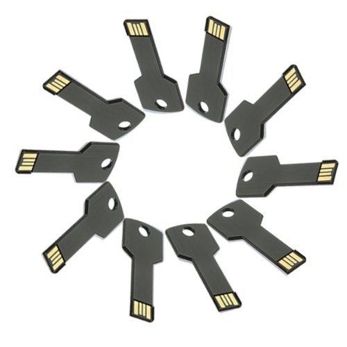 Enfain® 10Pcs Metal Key 16GB USB Flash Drive 2.0 Memory Stick Multi Color Choice (Black)