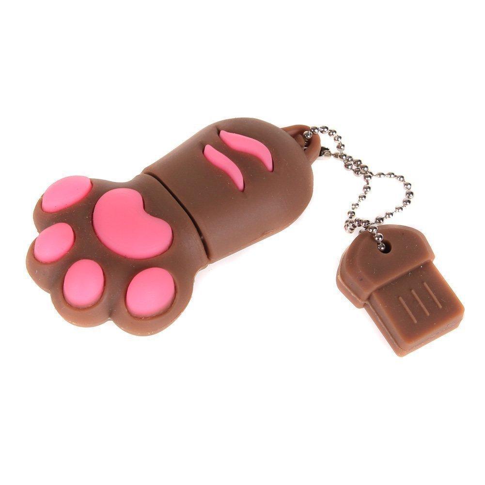 Enfain® Cute Animal Paw keychain USB Flash Drive Cartoon USB 2.0 Memory Stick U Disk (16GB, Brown)