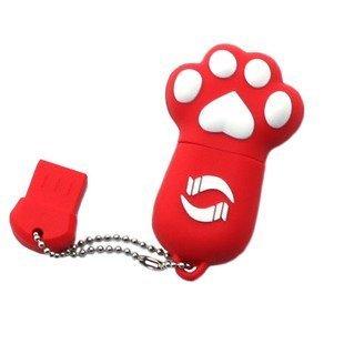 Enfain® Cute Animal Paw keychain USB Flash Drive Cartoon USB 2.0 Memory Stick U Disk (16GB, Red)