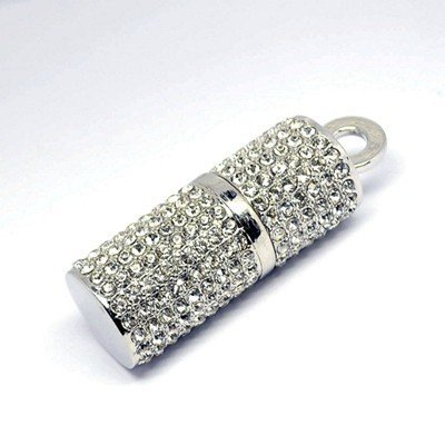 Enfain® 8GB Crystal Lipstick Case Jewelry USB Flash Memory Drive U Disk with Necklace