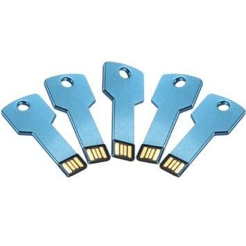 Enfain® 5Pcs 1GB Bulk Promotional Metal Key USB Flash Drive 2.0 Memory Stick Pen Drive(Blue)