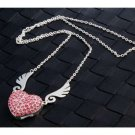 Enfain® Pink Crystal Pendant Angel Heart USB Flash Drive 2.0 8gb Memory Stick U Disk with Necklace