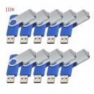 Print Logo for Free-100pcs 8GB Blue Swivel Custom USB Flash Memory Stick 2.0