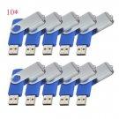 Print Logo for Free-100pcs 4GB Blue Swivel Custom USB Memory Stick 2.0
