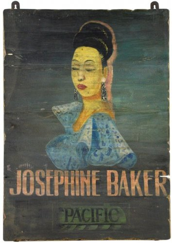AWESOME  VINTAGE STYLE OLD WOOD JOSEPHINE BAKER SIGN ,20'' X 1'' X 27''TALL.
