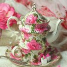 ADORABLE CHIC SHABBY ROSES MOTIF PORCELAIN TEA CUP/MUG SET FOR ONE,8''H.