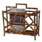 AWESOME GOLD BAMBOO IRON MAGAZINE HOLDER,17'' X 10'' X 17.5''H.