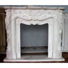 EXQUISITE CARVED WHITE MARBLE FIREPLACE MANTEL, 79'' X 14'' X 63''TALL.