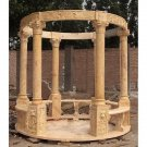 STUNNING GOLD TRAVERTINE/MARBLE HAND CARVED GARDEN GAZEBO,118''DIAM X 174''TALL.