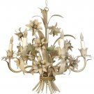 STUNNING FRENCH CHIC SHABBY TOLE FLOWERS WHITE CHANDELIER,21'' X 19''H.