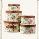 CHIC SHABBY SET OF 5 FLORAL FABRIC HAT BOXES,