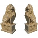 STUNNING PAIR OF CAST STONE LIONS ITALIAN GARDEN STATUES/SCULPTURES,79''TALL.