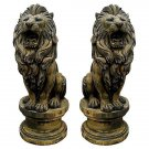 STUNNING PAIR OF CAST STONE LIONS GARDEN STATUES,60''TALL.