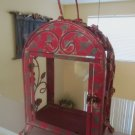 CHIC SHABBY PINK IRON FLOWERS/ GLASS CANDLE HOLDER/ LANTERN,11''WIDE X 20''H