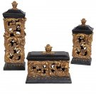 AWESOME SET OF THREE GOLD ACANTHUS LEAF RESIN BOXES