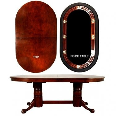 FABULOUS Oval Double Pedestal Poker games Table NEW ,84'' x 48'' x 31''tall.