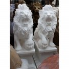 STUNNING PAIR OF WHITE MARBLE LIONS W/BALLS ON BASE GARDEN STATUES,29'' X 41''H