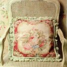 STUNNING CHIC SHABBY NEEDLEPOINT PILLOW,18''
