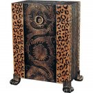 STUNNING LEOPARD PRINT SIDE TRUNK TABLE OR HAMPER,20'' X 12'' X 29''TALL.