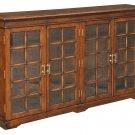 GORGEOUS SOLID WALNUT COGNAC BOOKCASE W/GLASS DOORS,67'' X 13'' X 42.5''H.