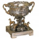 FABULOUS TROPHY BOWL W/HORSES PLANTER/VASE,20.5'' X 14''  X 19.5''TALL.