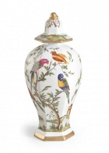 FABULOUS PARADISE H.PAINTED PORCELAIN BIRDS LIDDED VASE/URN,8'' DIAM X 19''TALL.