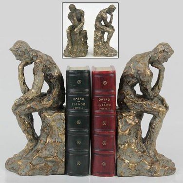 FABULOUS BRONZE /GOLD THE THINKER BOOKENDS,8.5''TALL.